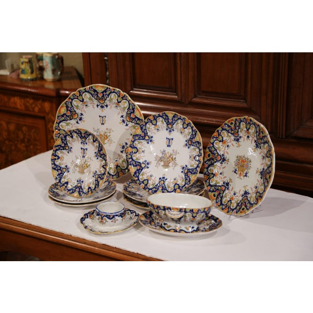 Late 19th Century 19th Century French Hand-Painted Plates and Dishes From Normandy - Set of 10 For Sale - Image 5 of 10