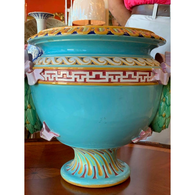 Minton Antique Minton Majolica Urns - a Pair For Sale - Image 4 of 13