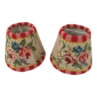 Miniature Needlepoint Lamp Shades- A Pair