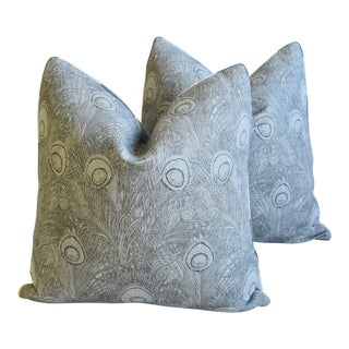 "Peacock Feather Linen Feather/Down Pillows 21"" Square - Pair For Sale"