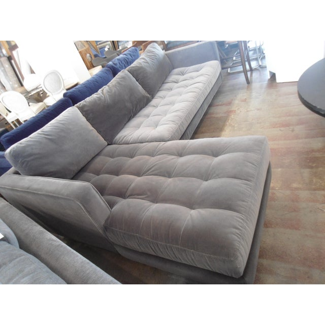 Mid-Century Modern Shadow Gray Velvet Sectional, Left Chaise, Tufted Seating For Sale - Image 3 of 6