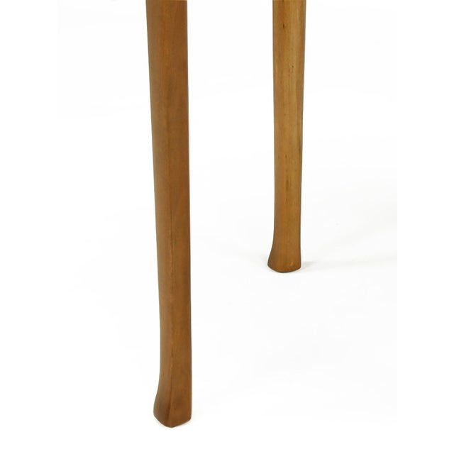 Brown 1940s Round Two-Tier Maple Side Table With Buffalo Leather Inlay For Sale - Image 8 of 9