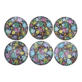 Antique Antique Chinese Mille Fleur Plates With Gold Karat Rim Plates - Set of 6 For Sale