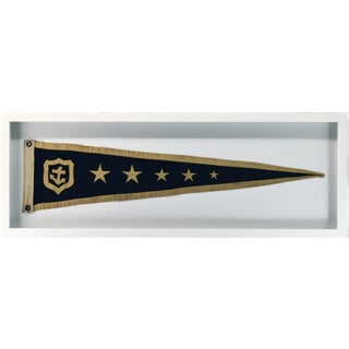 Vintage Nautical Pennant, Framed in Shadow Box For Sale