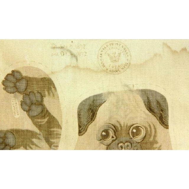 """Traditional Antique """"Pug Puppies"""" Printed Pillow Pattern For Sale - Image 3 of 3"""