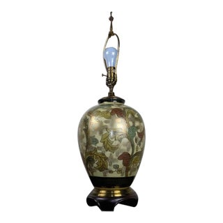 Wildwood Brass & Hand Painted Porcelain Lamps Signed Y. Koho For Sale