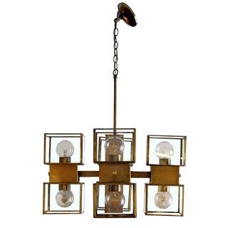 Mid-Century Modern Sciolari Style Bronze Glass 8 Cube Corbett Chandelier For Sale