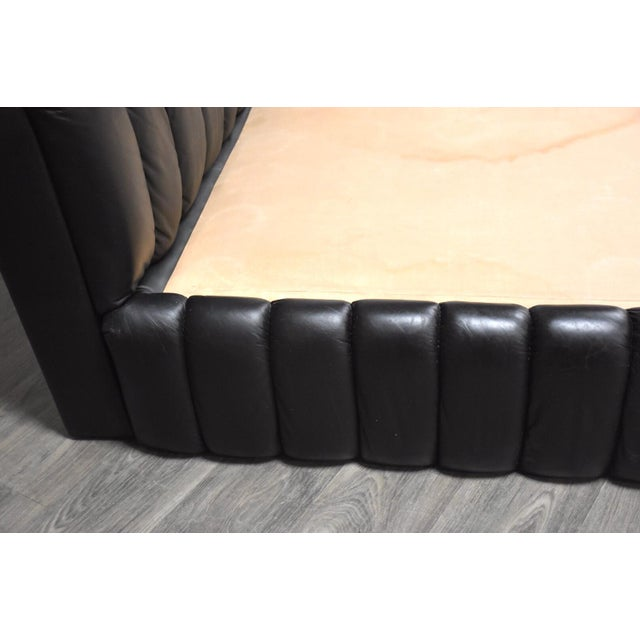 Century Furniture Jay Spectre Black Leather Queen Bed For Sale - Image 4 of 11