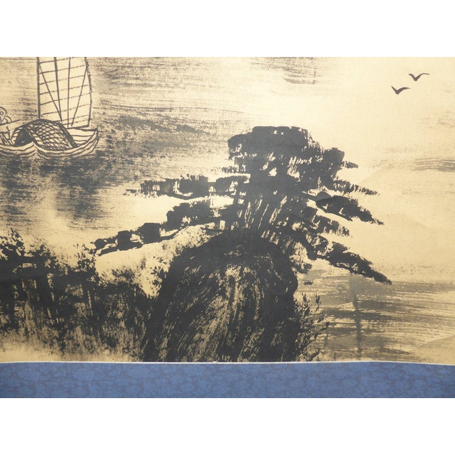 Vintage Japanese Mountains & Fishing Boats Scroll Painting For Sale - Image 10 of 11