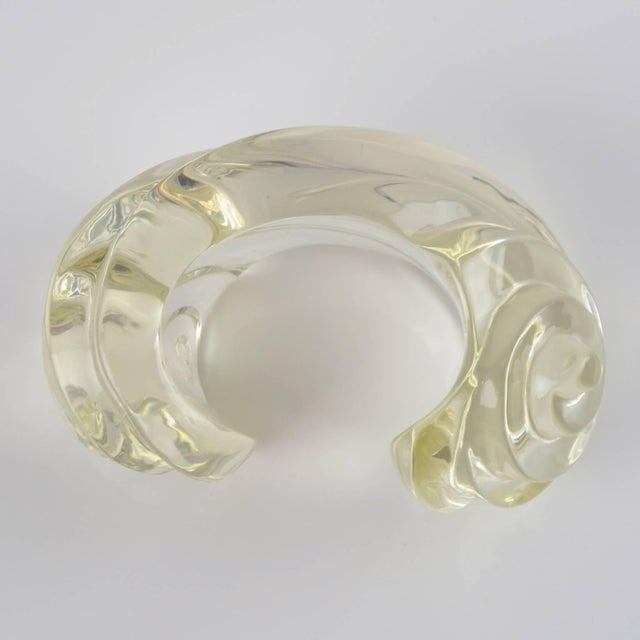 Mediterranean Fashion Designer Uterque Oversized Bold Deeply Carved Clear Lucite Cuff Bracelet For Sale - Image 3 of 10