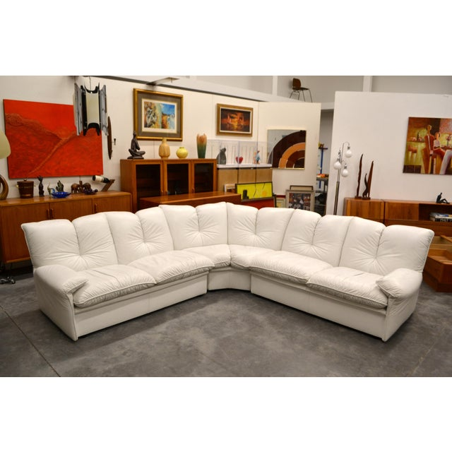 Nicoletti Salotti Italian White Leather 3 Pieces Sectional Sofa For Sale In Las Vegas - Image 6 of 6