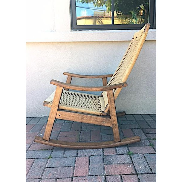 Lovely Hans Wegner Style Rope Rocking Chair. Classic design. Super comfortable. Beautiful from all angles!