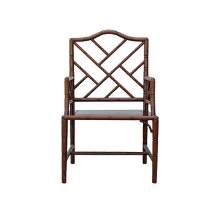 Chinese Oriental Brown Simple Bamboo Simulated Motif Armchair For Sale