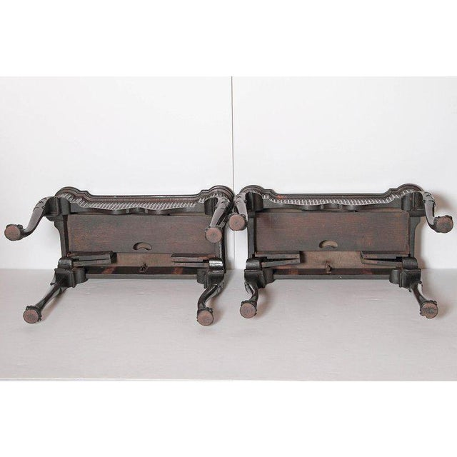 Pair of Irish Chippendale Carved Mahogany Concertina Card Tables For Sale - Image 11 of 12