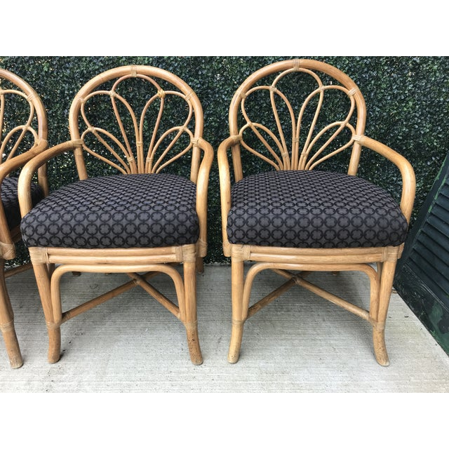 Boho Chic 1970's Vintage Bent Bamboo Dining Upholstered Chairs - Set of 4 For Sale - Image 3 of 11