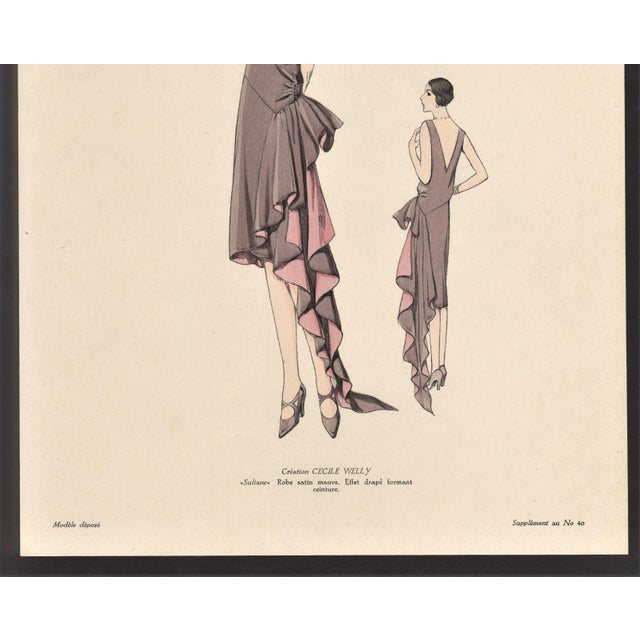 Art Deco 1920 French Art Deco Couture Fashion Print For Sale - Image 3 of 5