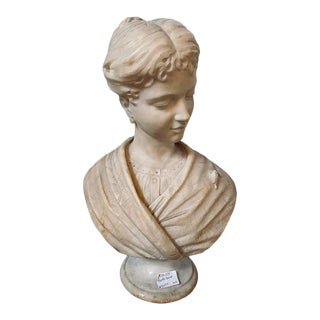 Alabaster Bust of Young Lady and a Bird, 19th-20th Century For Sale
