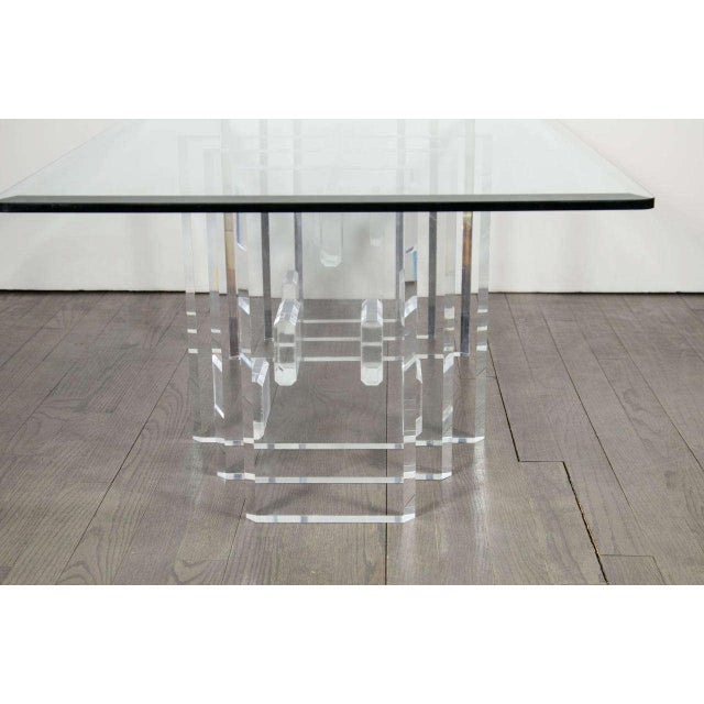 Glass Sophisticated Mid-Century Modern Lucite and Glass Cocktail Table For Sale - Image 7 of 9