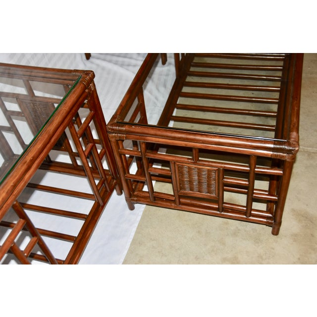 Wood 1980s Vintage McGuire Style Bamboo Rattan Glass Top Tables- Set of 3 For Sale - Image 7 of 12
