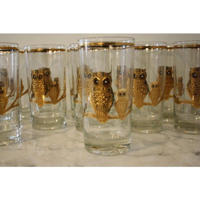 4ab6dcab6b8 Mid-Century Culver Ltd. Gold Owl Glasses - Set of 15 For Sale -