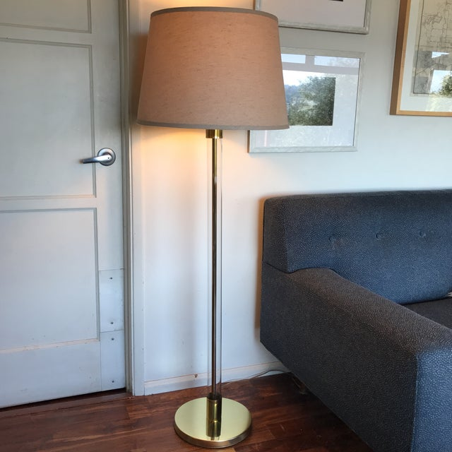 Mid-Century Brass & Glass Tube Floor Lamp | Chairish