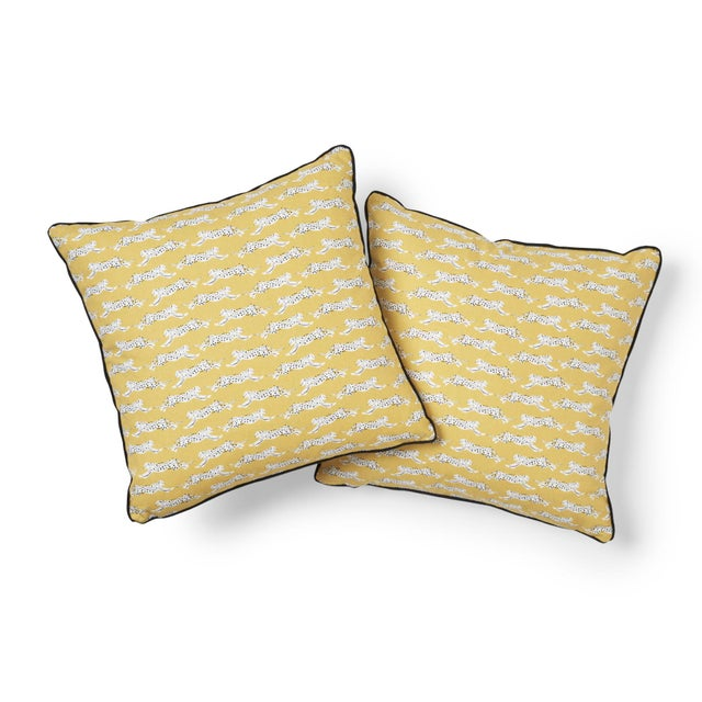 "This 14"" x 14"" pillow features Leaping Leopards in Yellow. Playful yet sophisticated, this wildly chic pattern of sleek,..."