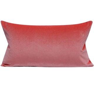 "Tulip Pink Velvet Lumbar Pillow Cover 11"" X 21"" For Sale"