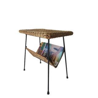 Mid Century Modern Iron & Rattan Magazine Side Table For Sale