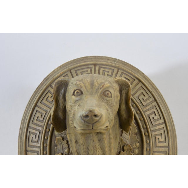 Vintage Wooden Hand-Carved Decorative Dog Head in the Middle of the 20th Century For Sale - Image 4 of 5