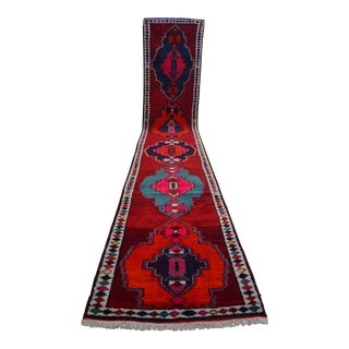 Hand Knotted Kurdish Tribal Runner Rug Long Runner- 3′ × 16′7″