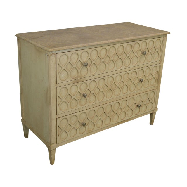 Hickory Chair Atelier Rustic Parchment Painted Marble Top Murano Chest of Drawers For Sale