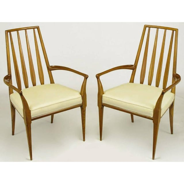 Pair of Bert England Sculpted Walnut and Off-White Linen Slatback Armchairs - Image 2 of 7