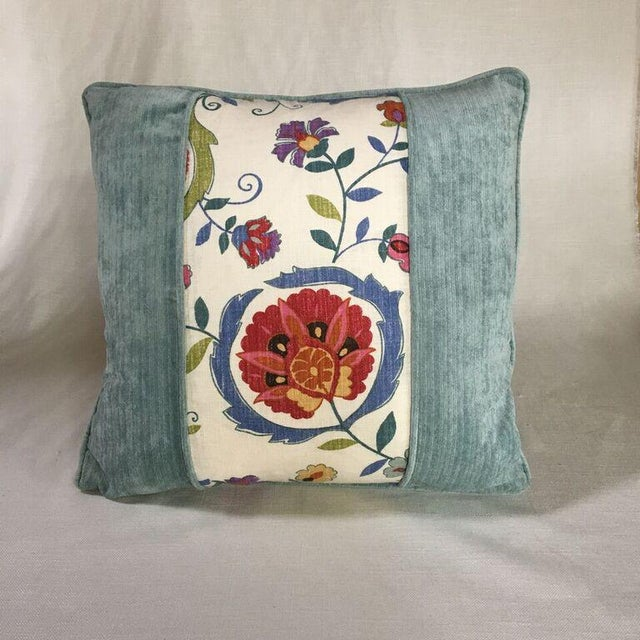 Traditional Kim Salmela Velvet and Floral Patchwork Pillow For Sale - Image 3 of 4