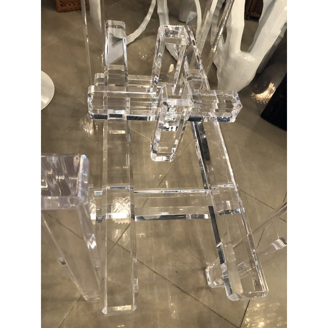 Vintage Skyscraper Column Architectural Lucite Dining Table Base or Desk For Sale - Image 9 of 11