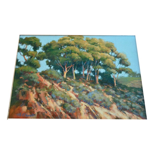 "This spectacual original framed oil on canvas is titled, ""Eucalyptas at Sunset,"" and was painted by a California 20th-..."