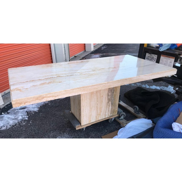 1970s Italian Long Travertine Dining Table For Sale - Image 11 of 13