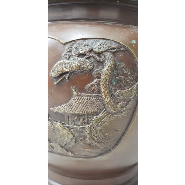 Gold Early 20th Century Chinese Raised Relief Bronze Planter For Sale - Image 8 of 9