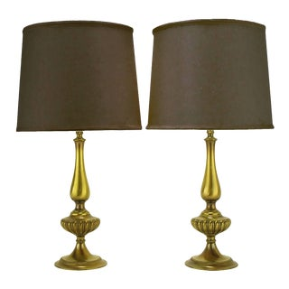 Pair of Rembrandt Lighting Solid Brass Regency Table Lamps For Sale