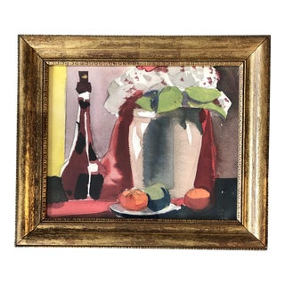 Original Vintage Still Life Watercolor Painting Framed For Sale