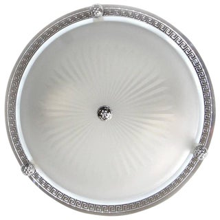 Vaughan Regency Style Greek Nickel and Glass Flush Mount Ceiling Light