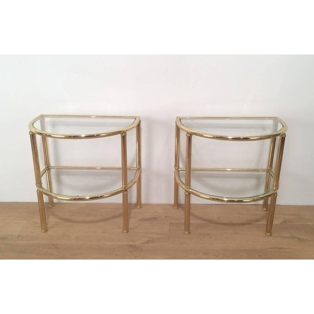 Modern Pair of French Demi Lune Shaped Brass Side Tables For Sale - Image 3 of 10