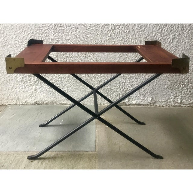 English Campaign Style Writing Box on Iron Stand For Sale - Image 10 of 12