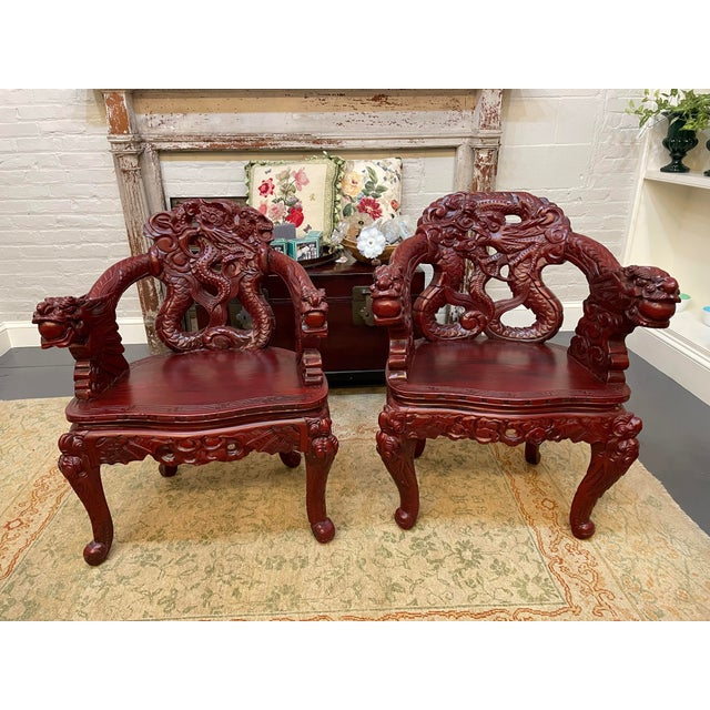 1960s Vintage Red Carved Wood Chinese Dragon Chairs - a Pair For Sale - Image 9 of 9
