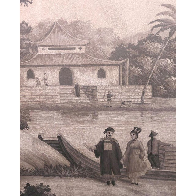 Tan Large Scale Triptych of Idyllic Scenes of Ancient China, Paintings in Brunaille, Jardins en Fleur Showroom Samples For Sale - Image 8 of 9