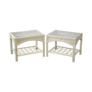 Link Taylor Pair of White Painted Glass Top Side Tables For Sale