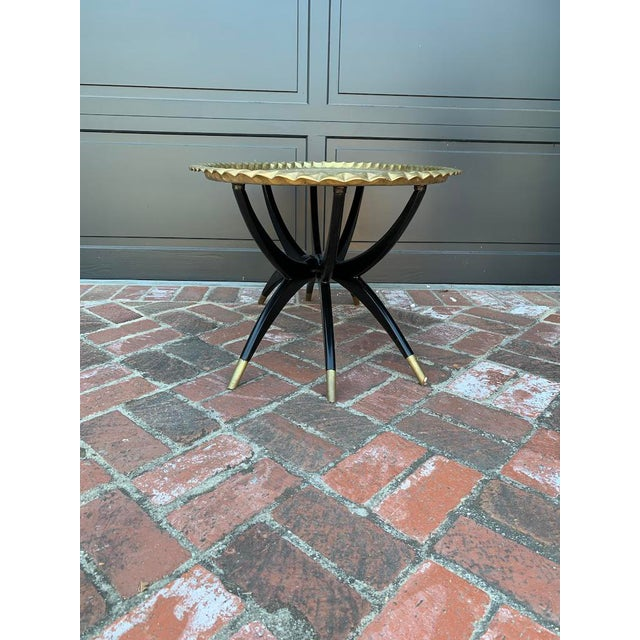 Mid Century Modern Morrocan Two Piece Brass and Ebony 6 Legged Sipder Oval Coffee Table For Sale In Los Angeles - Image 6 of 6