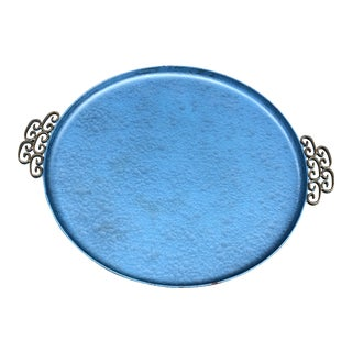 Kyes Mid-Century Blue Moire Glaze Round Tray For Sale