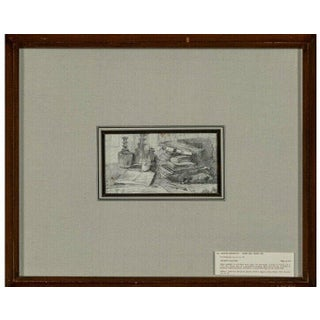 "Attilio Simonetti ""An Artists Work Table"" 1843-1925 Framed Drawing For Sale"