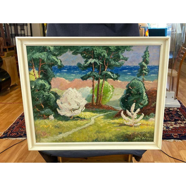 """Green Jens Aabo """"Danish Coastal Pathway"""", Impressionist Oil Painting, 1956 For Sale - Image 8 of 13"""