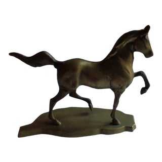 Mid-Century Brass Prancing Horse Figurine on Base For Sale